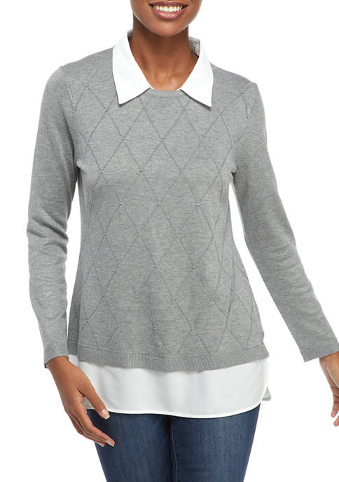Kim Rogers® Petite Long Sleeve Argyle Textured 2Fer