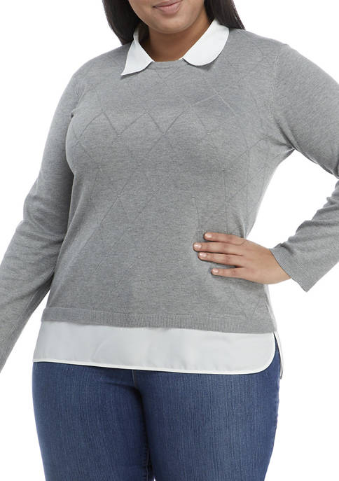 Kim Rogers® Plus Size Long Sleeve Argyle Textured