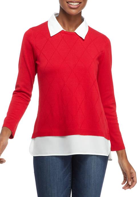 Kim Rogers® Petite Long Sleeve Argyle Textured 2Fer