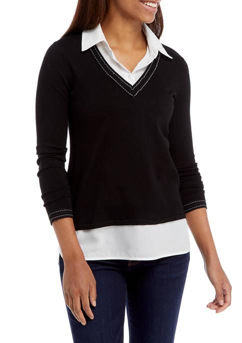 Kim Rogers® Petite Long Sleeve V-Neck 2Fer Sweater