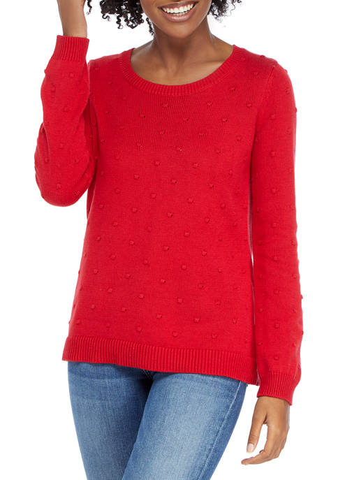 Kim Rogers® Womens Long Sleeve Popcorn Crew Sweater