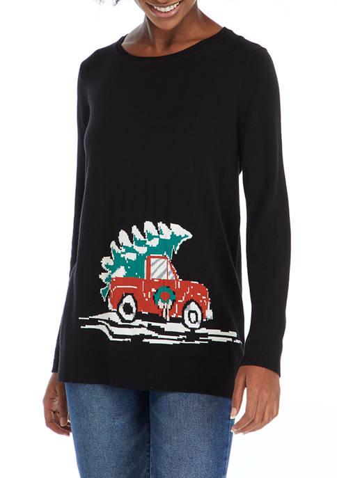 Kim Rogers® Womens Christmas Tree Truck Sweater