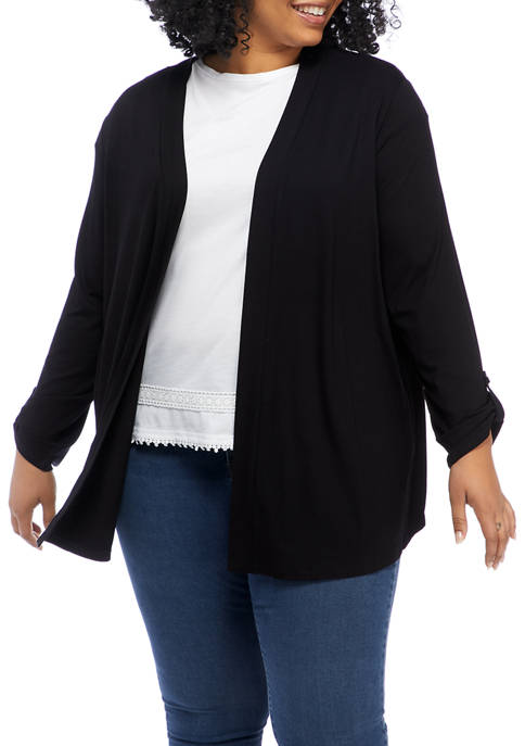 Kim Rogers® Plus Size Roll Tab Open Front