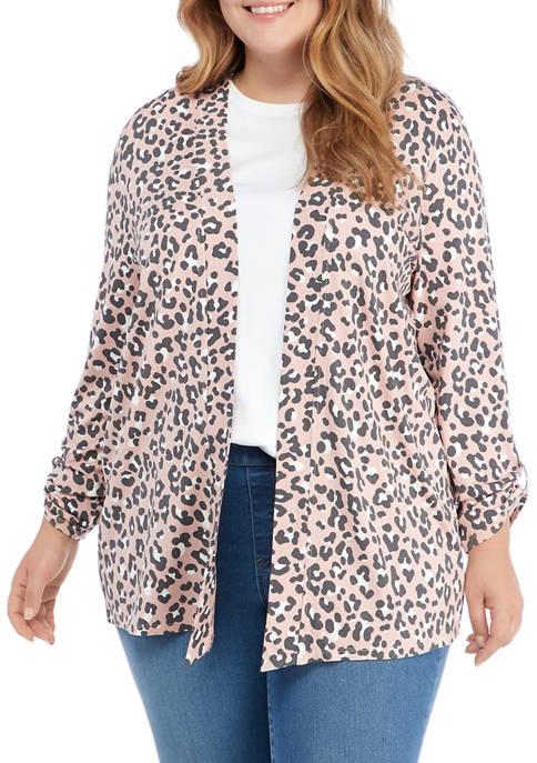 Kim Rogers® Plus Size Leopard Print Roll Tab