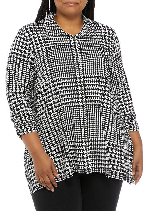 Kim Rogers® Plus Size 3/4 Ruched Sleeve Button