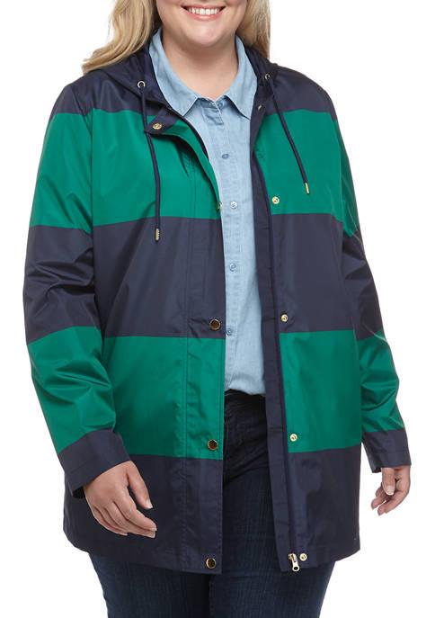 Plus Size Stripe Anorak Jacket