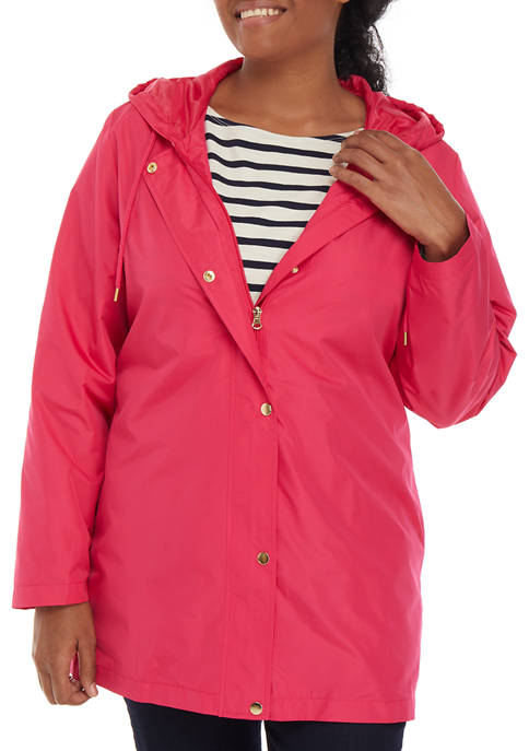 Plus Size Solid Anorak Jacket