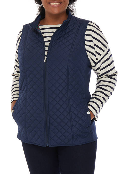 Plus Size Puffer Vest with Knit Sides
