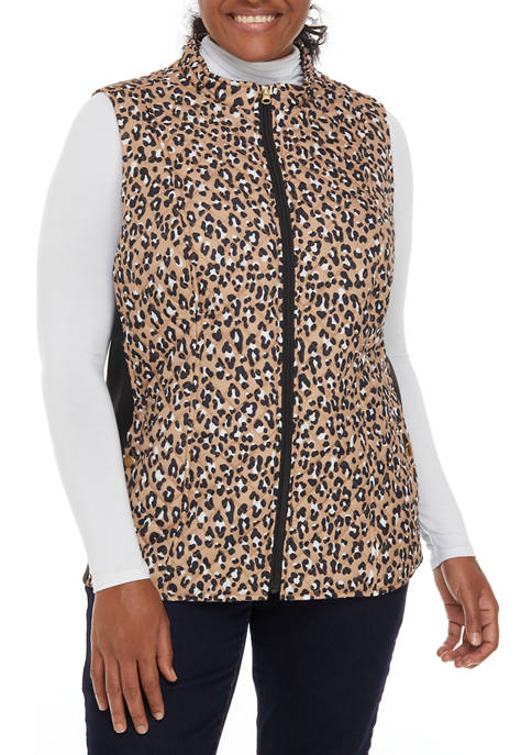 Plus Size Leopard Puffer Vest with Knit Sides
