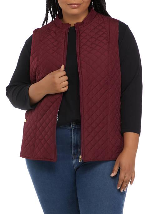 Kim Rogers® Plus Size Side Knit Puffer Vest