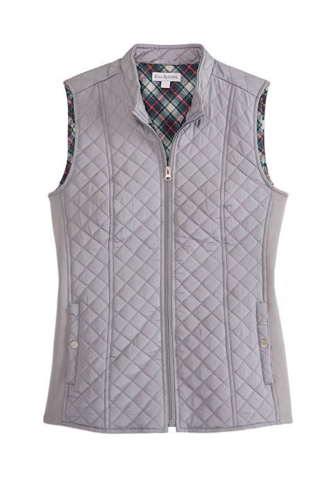 Womens Solid Zip Puffer Vest