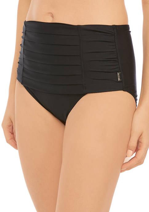 Pleated High Waist Swimsuit Bottoms