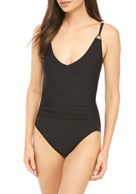 Underwire Shirred One Piece Swimsuit