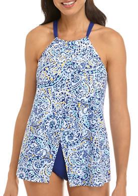 Eden Paisley High Neck Swim Dress