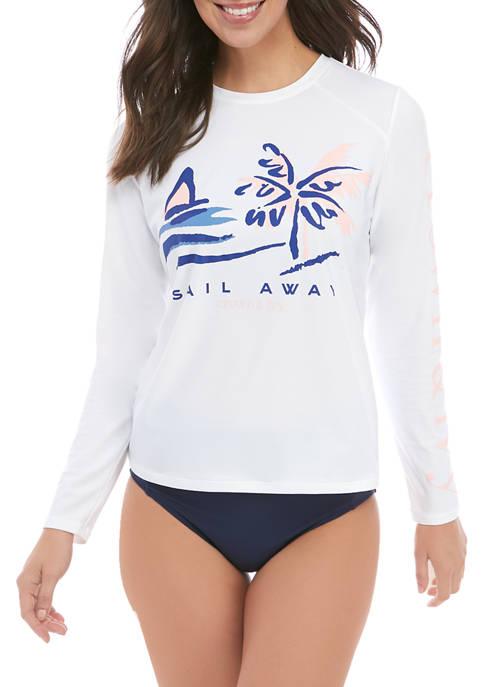 Crown & Ivy™ Womens Long Sleeve Sail Rash