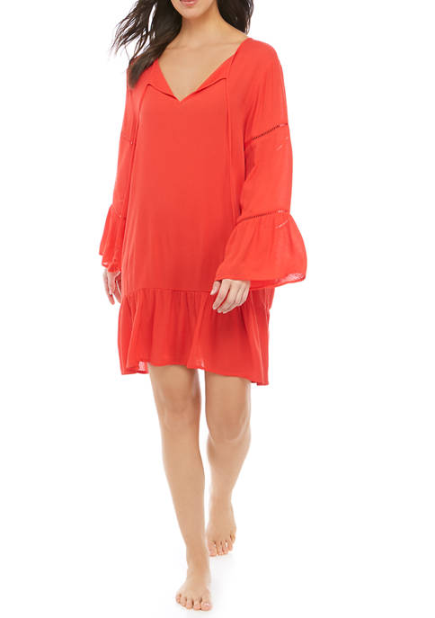 Crown & Ivy™ Woven Tunic Swim Cover Up