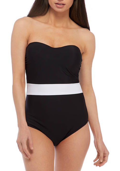 Crown & Ivy™ Strapless Color Blocked One Piece