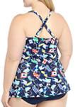 Plus Size Sea Rope Cross Back Ruffle Swim Dress