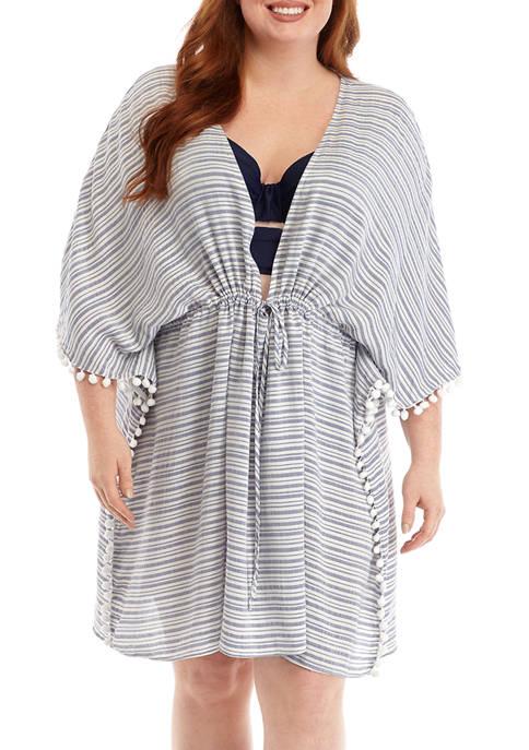 Plus Size Woven Striped Tunic Swim Cover Up