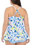 Plus Size Cross Back Swim Dress