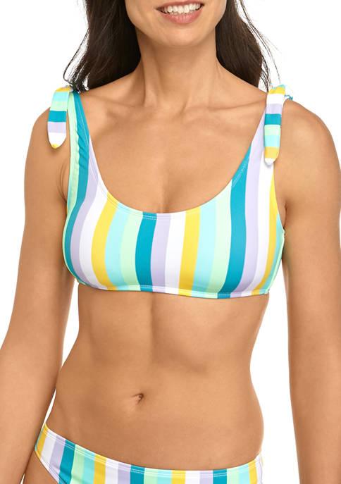 Stripe It Up Shoulder Tie Crop Bikini Swim Top