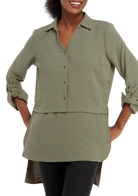 Adyson Parker Womens High Low Solid Button Down