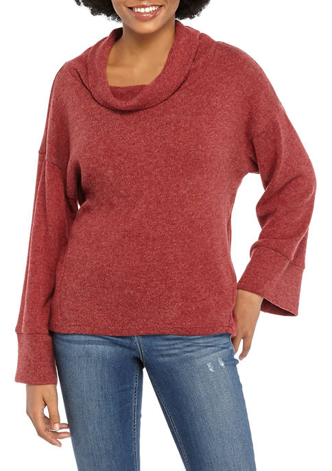 Womens Hacci Cowl Bell Sleeve Sweater
