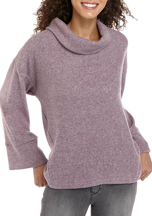 AD Adyson Parker Womens Hacci Cowl Bell Sleeve