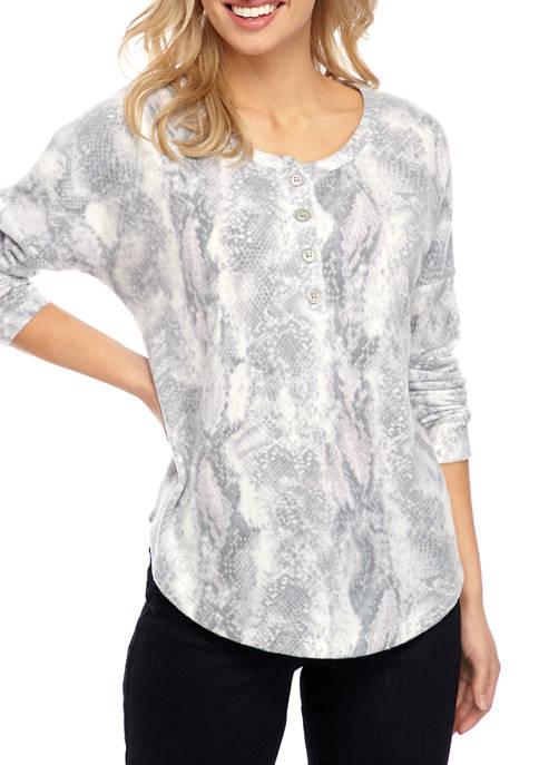 Adyson Parker Womens Printed Button Henley Shirt