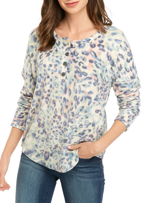 Womens Printed Button Henley Shirt