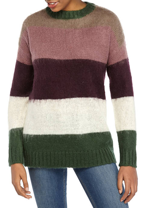 Womens Color Block Tunic Sweater