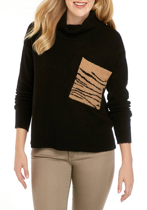 Womens Black Sweater with Animal Print Pocket