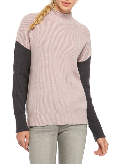 Womens Color Block Sleeve Sweater