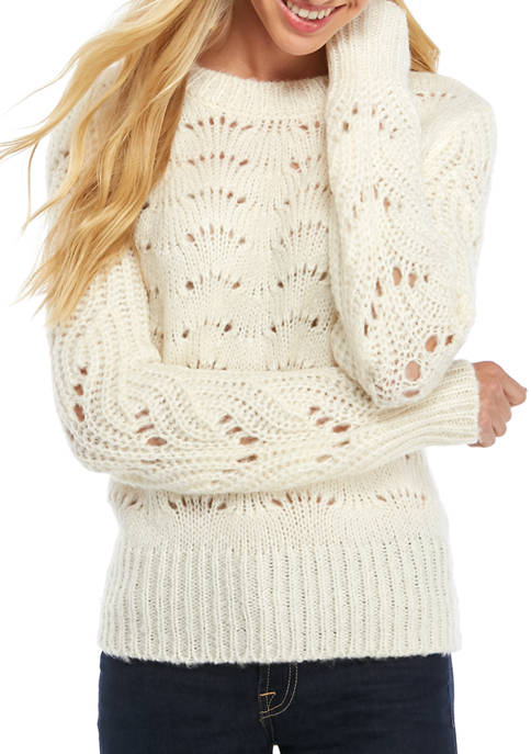 AP by Adyson Parker Womens Pointelle Sweater