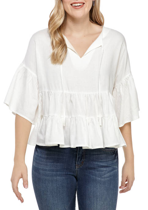 Adyson Parker Womens Tiered Woven Top