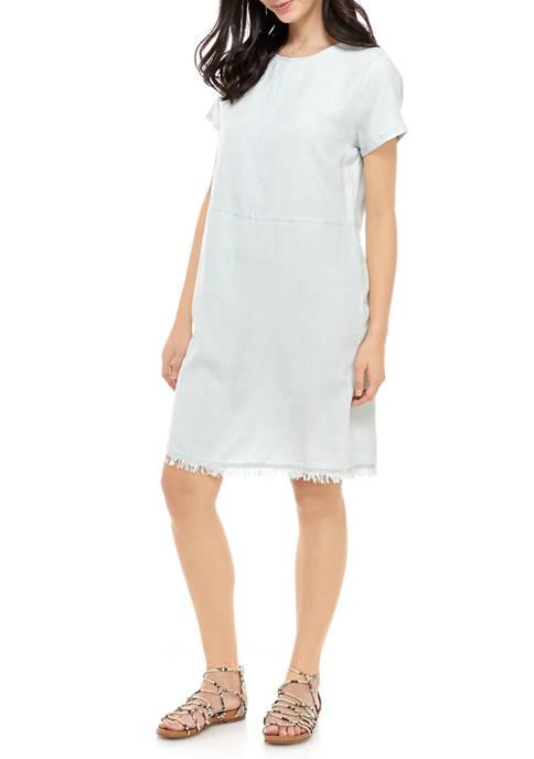 Adyson Parker Womens Frayed Hem Dress