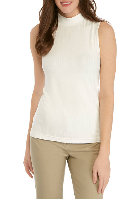 Womens Ribbed Mock Neck Top