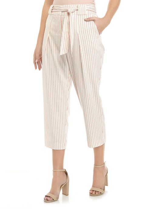 Womens Tie Waist Stripe Crop Pants