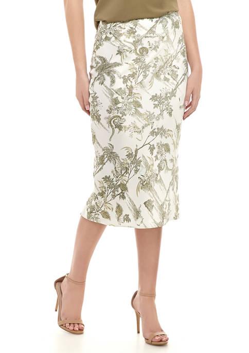 Womens Satin Printed Midi Skirt