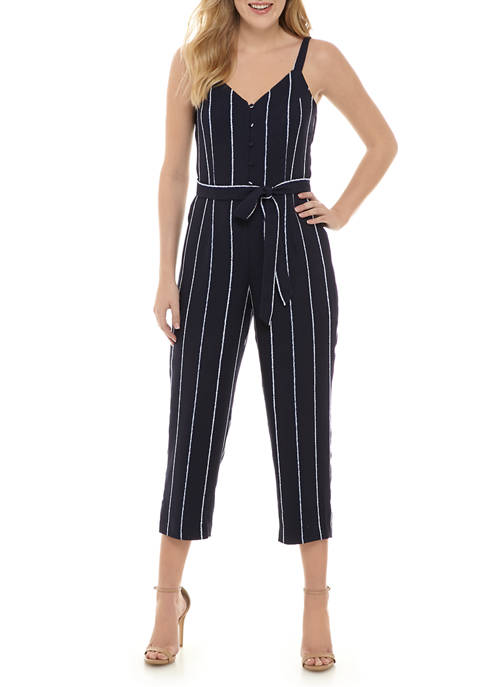 Womens Button Front Striped Jumpsuit