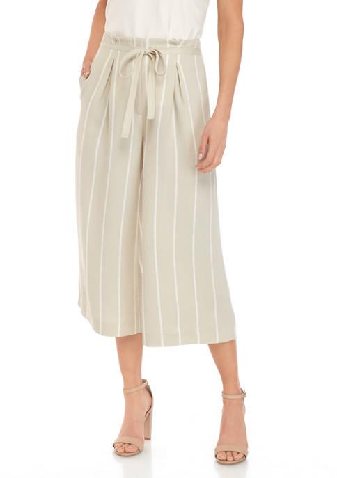 Womens Wide Leg Stripe Belted Crop Pants
