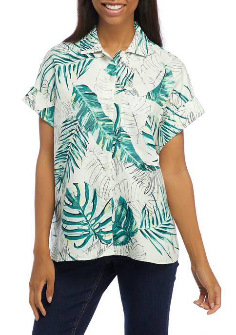 THE LIMITED Juniors Short Sleeve Tropical Print Linen