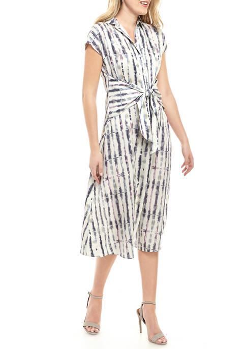 Womens Printed Dolman Shirt Dress