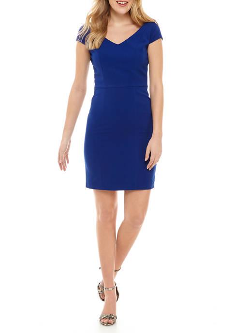 Womens Cap Sleeve V-Neck Dress