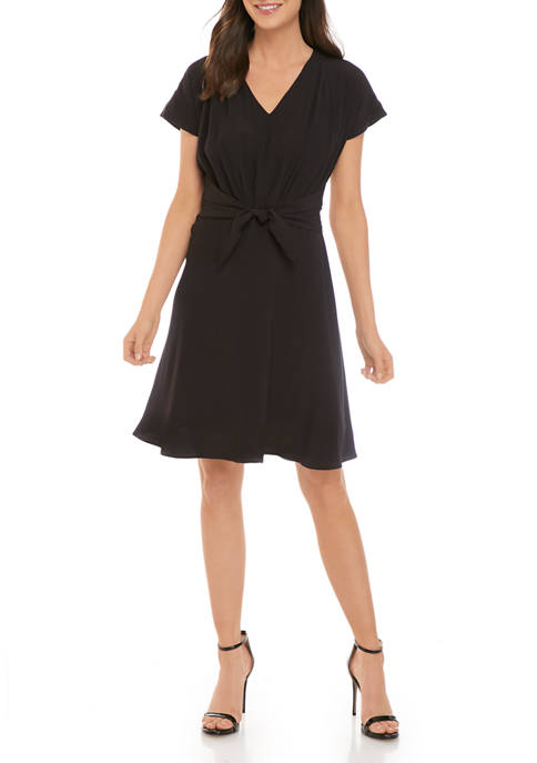 Womens Dolman Sleeve Pleated Front Dress