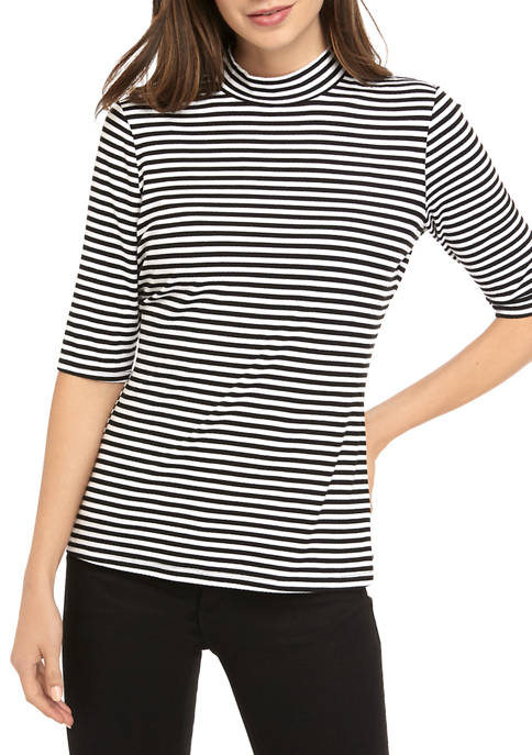 Womens 3/4 Sleeve Ribbed Mock Neck Top