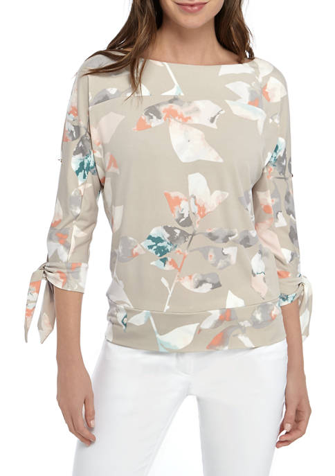 The Limited Women's Tie Dolman Sleeve Printed Top (Tan Floral)