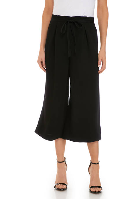 Womens Belted Wide Leg Crop Pants