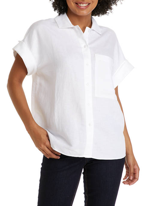 THE LIMITED Womens Linen One Pocket Shirt