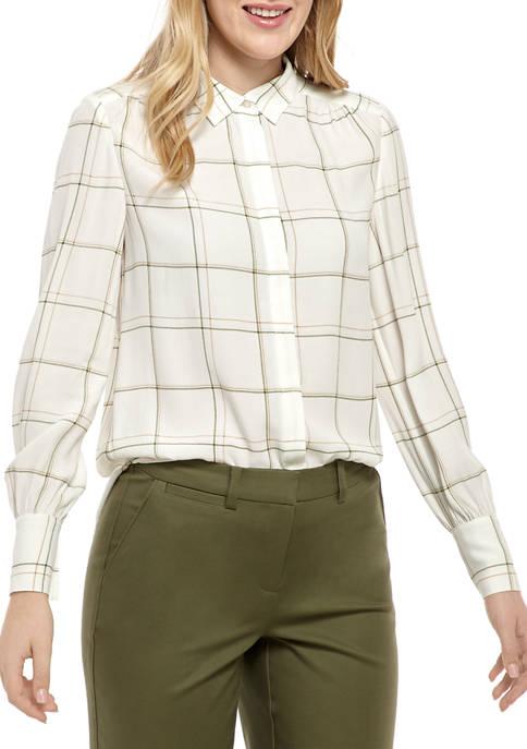 Womens Long Sleeve Button Down Yarn Dye Top
